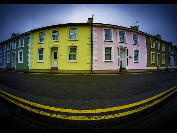 Colourful 'fish eye' street